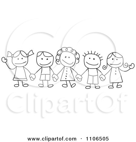 Clipart Black And White Stick Drawing Of Multi Ethnic Children Holding Hands - Royalty Free Vector Illustration by C Charley-Franzwa