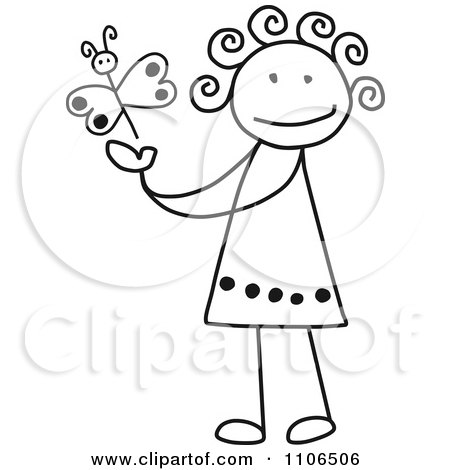 Clipart Black And White Stick Drawing Of A Happy Girl Playing With A Butterfly - Royalty Free Vector Illustration by C Charley-Franzwa