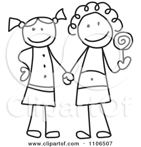 Clipart Black And White Stick Drawing Of Two Best Friend Girls