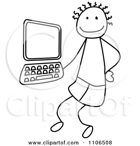 Clipart Black And White Stick Drawing Of A Tech Boy By A Computer - Royalty Free Vector Illustration by C Charley-Franzwa