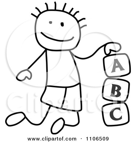 Clipart Black And White Stick Drawing Of A Boy Playing With Letter Alphabet Blocks - Royalty Free Vector Illustration by C Charley-Franzwa