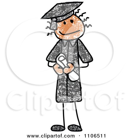 Clipart Stick Drawing Of A Happy Graduate - Royalty Free Vector Illustration by C Charley-Franzwa