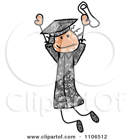 Clipart Stick Drawing Of A Happy Black Graduate Girl Jumping - Royalty Free Vector Illustration by C Charley-Franzwa