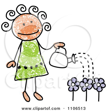 Clipart Stick Drawing Of A Happy Girl Watering Flowers In Her Garden - Royalty Free Vector Illustration by C Charley-Franzwa
