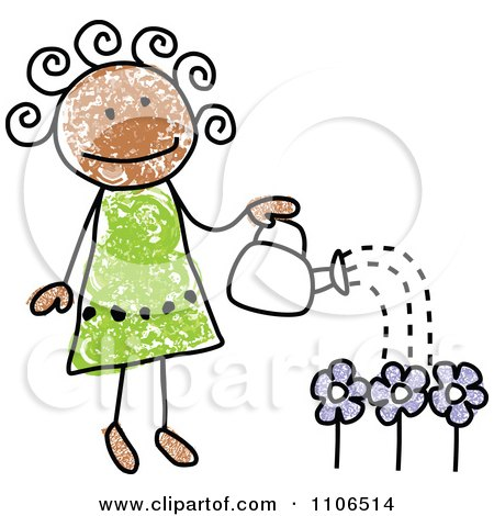 Clipart Stick Drawing Of A Happy Black Girl Watering Flowers In Her Garden - Royalty Free Vector Illustration by C Charley-Franzwa
