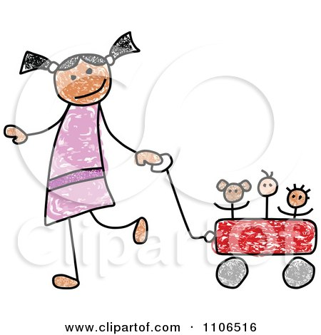 Clipart Stick Drawing Of A Happy Hispanic Girl Pulling Her Toys In A Wagon - Royalty Free Vector Illustration by C Charley-Franzwa