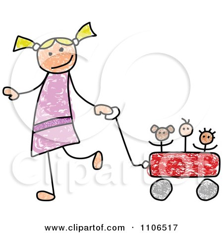 Clipart Stick Drawing Of A Happy White Girl Pulling Her Toys In A Wagon - Royalty Free Vector Illustration by C Charley-Franzwa
