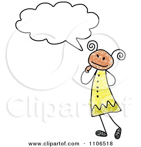Clipart Stick Drawing Of A Hispanic Girl In Thought - Royalty Free Vector Illustration by C Charley-Franzwa