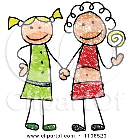 Clipart Stick Drawing Of Two Best Friend Girls Holding Hands And A Loli Pop - Royalty Free Vector Illustration by C Charley-Franzwa