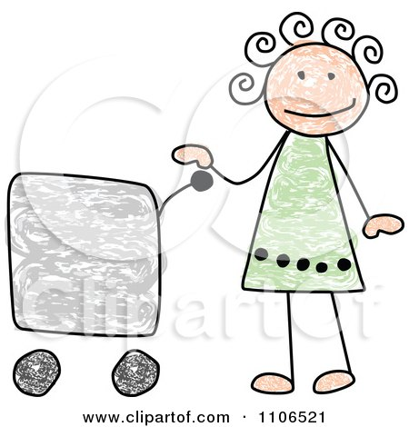 Clipart Stick Drawing Of A Happy Girl With A Shopping Cart - Royalty Free Vector Illustration by C Charley-Franzwa