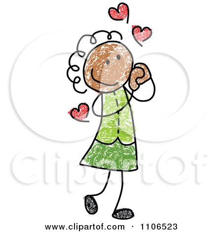 Clipart Stick Drawing Of A Black Girl In Love - Royalty Free Vector Illustration by C Charley-Franzwa