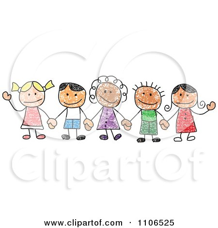 Clipart Stick Drawing Of Multi Ethnic Children Holding Hands - Royalty Free Vector Illustration by C Charley-Franzwa