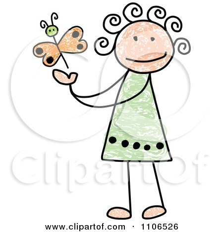 Clipart Stick Drawing Of A Happy White Girl Playing With A Butterfly - Royalty Free Vector Illustration by C Charley-Franzwa