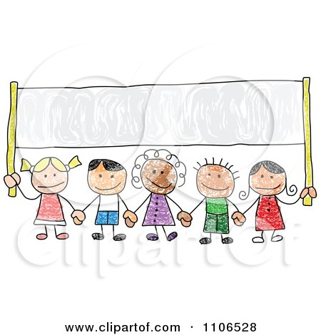 Clipart Stick Drawing Of Multi Ethnic Children Holding Hands Under A Banner - Royalty Free Vector Illustration by C Charley-Franzwa