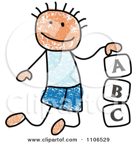 Clipart Stick Drawing Of A White Boy Playing With Letter Alphabet Blocks - Royalty Free Vector Illustration by C Charley-Franzwa