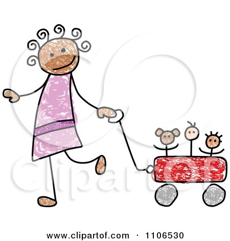 Clipart Stick Drawing Of A Happy Black Girl Pulling Her Toys In A Wagon - Royalty Free Vector Illustration by C Charley-Franzwa