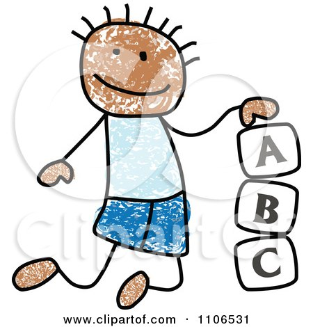 Clipart Stick Drawing Of A Black Boy Playing With Letter Alphabet Blocks - Royalty Free Vector Illustration by C Charley-Franzwa