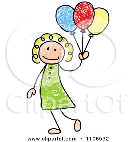 Clipart Stick Drawing Of A Happy White Girl With Party Balloons - Royalty Free Vector Illustration by C Charley-Franzwa