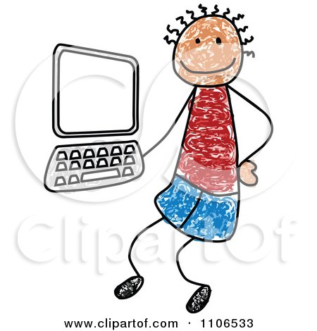 Clipart Stick Drawing Of A Tech Boy By A Computer - Royalty Free Vector Illustration by C Charley-Franzwa