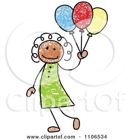 Clipart Stick Drawing Of A Happy Black Girl With Party Balloons - Royalty Free Vector Illustration by C Charley-Franzwa