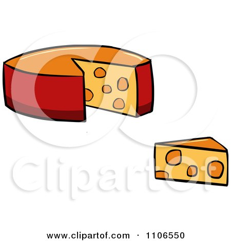 Clipart Wheel And Wedge Of Cheese - Royalty Free Vector Illustration by Cartoon Solutions