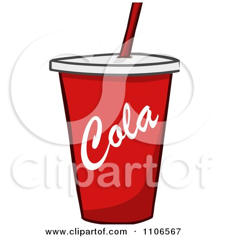 Clipart red fountain soda cola cup royalty free vector for Pizza in a mug without baking soda