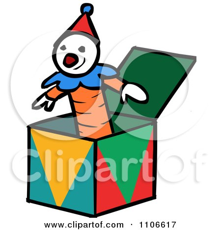 Clipart Jack In The Box Toy - Royalty Free Vector Illustration by Cartoon Solutions