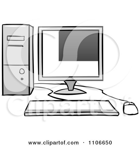 Clipart Desktop Computer And Office Chair Royalty Free Vector Illustration By