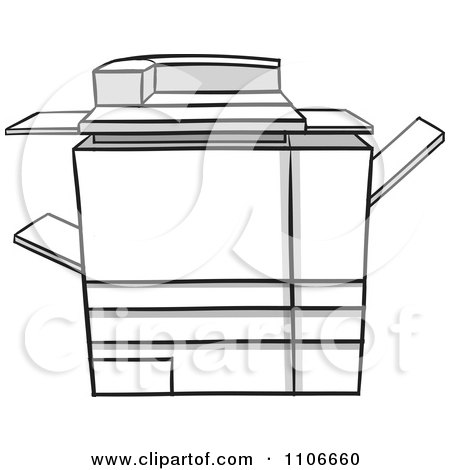 Cartoon Of A Happy Copier Mascot Holding A Piece Of Paper