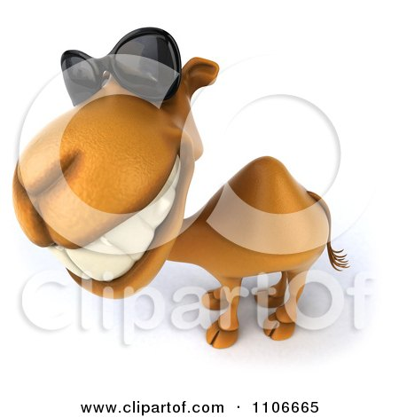 Clipart 3d Happy Camel Wearing Sunglasses - Royalty Free CGI Illustration by Julos
