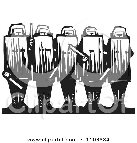 Clipart Row Of Police Officers In Protective Gear Black And White Woodcut - Royalty Free Vector Illustration by xunantunich