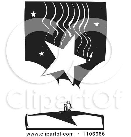Clipart Parent And Child Under A Huge Falling Star Black And White Woodcut - Royalty Free Vector Illustration by xunantunich