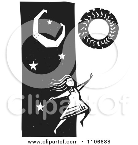 Clipart Woman Leaping From Night To Day Black And White Woodcut - Royalty Free Vector Illustration by xunantunich