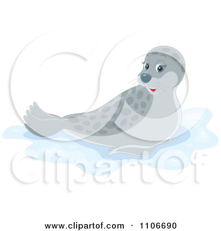 Clipart Cute Gray Spotted Seal - Royalty Free Vector Illustration by Alex Bannykh