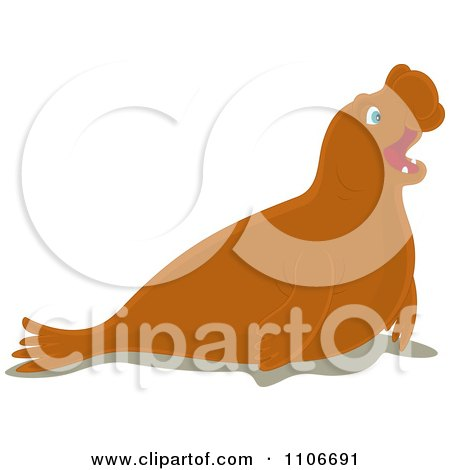 Clipart Cute Elephant Seal - Royalty Free Vector Illustration by Alex Bannykh