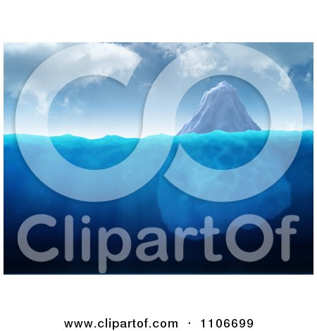 Clipart 3d Large Iceberg Floating In Blue Water - Royalty Free CGI Illustration by Mopic