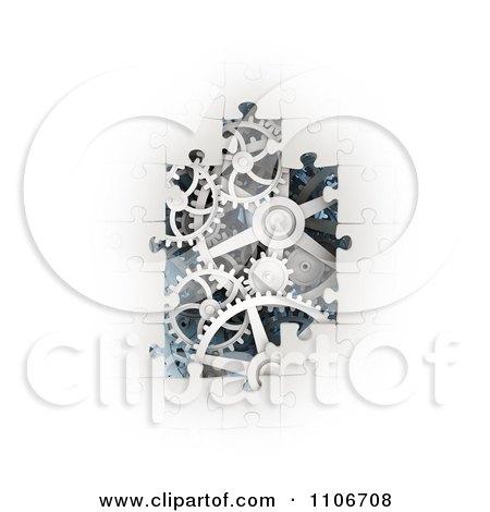 3d White Puzzle Pieces Revealing Gear Gogs Posters, Art Prints