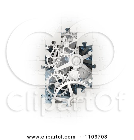 Clipart 3d White Puzzle Pieces Revealing Gear Gogs - Royalty Free CGI Illustration by Mopic