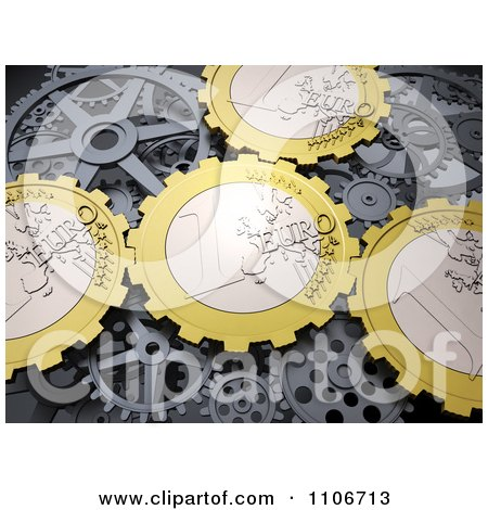 Clipart 3d Euro Coin Gear Cogs - Royalty Free CGI Illustration by Mopic