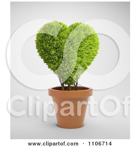 Clipart 3d Heart Shaped Potted Plant - Royalty Free CGI Illustration by Mopic