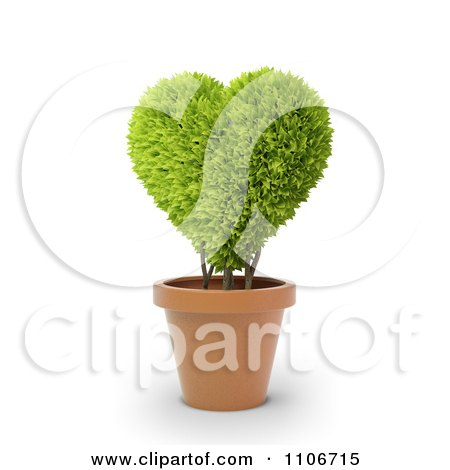 Clipart 3d Heart Potted Plant - Royalty Free CGI Illustration by Mopic