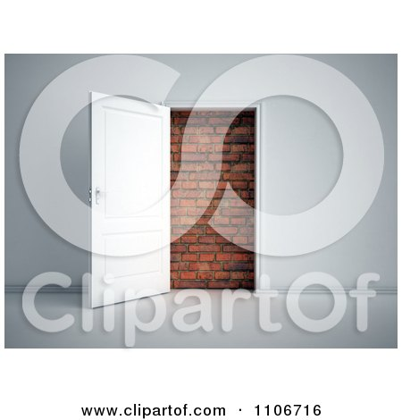 Clipart 3d Door Open To A Brick Wall - Royalty Free CGI Illustration by Mopic