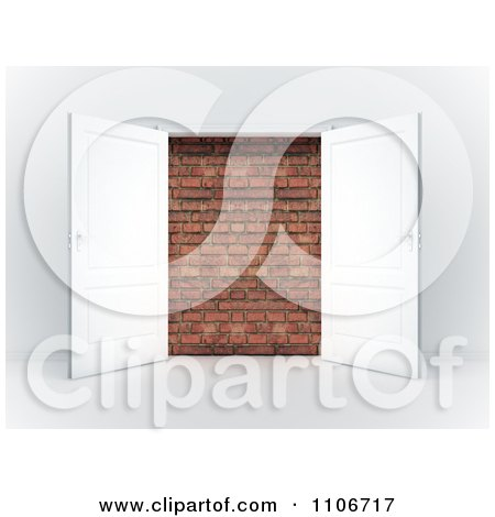 Clipart 3d French Doors Open To A Brick Wall - Royalty Free CGI Illustration by Mopic