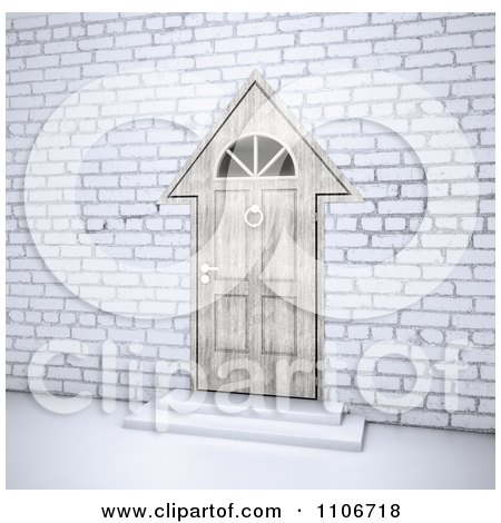 Clipart 3d House Shaped Door In A Brick Wall - Royalty Free CGI Illustration by Mopic