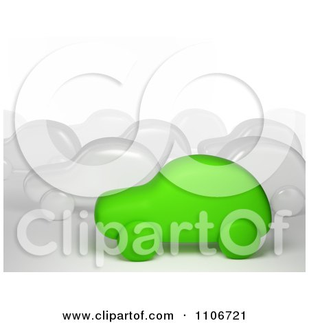 Clipart 3d Green Car In Traffic With White Cars - Royalty Free CGI Illustration by Mopic