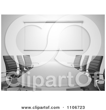 Clipart 3d Office Conference Room With Chairs A Table And Presentation Screen - Royalty Free CGI Illustration by Mopic