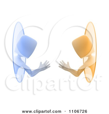 Clipart 3d Blue And Orange People Waving Through Teleportation Portals - Royalty Free CGI Illustration by Mopic