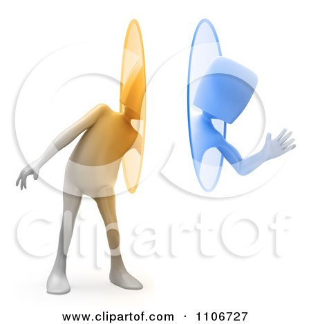 Clipart 3d Person Waving And Using A Teleportation Portal - Royalty Free CGI Illustration by Mopic