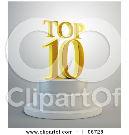 Clipart 3d Gold Top 10 Text Resting On A Podium - Royalty Free CGI Illustration by Mopic