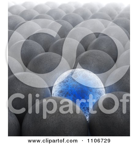 Clipart 3d Blue Electric Sphere Surrounded By Plain Metal Spheres - Royalty Free CGI Illustration by Mopic